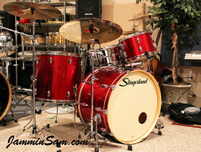 Photo of Marc Membreno's drum set with JS Sparkle Red drum wrap (3)