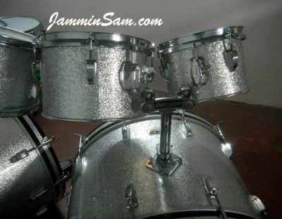 Photo of Luigi Iurillo's Ludwig drumset with JS Sparkle Silver drum wrap (68)