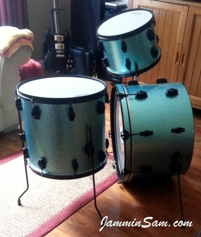 Photo of Trent Owen's drumset with JS Turquoise Sparkle drum wrap (18)