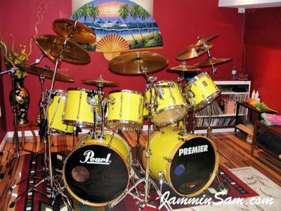 Photo of Marty Patrick's Premier drum set with JS Vintage Yellow drum wrap (42)