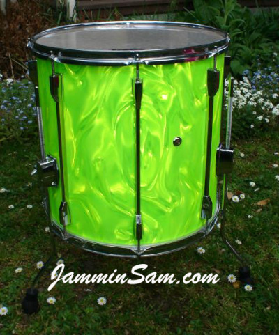 Photo of Brynley Rossiter's drums with Neon Lime Satin drum wrap (2)