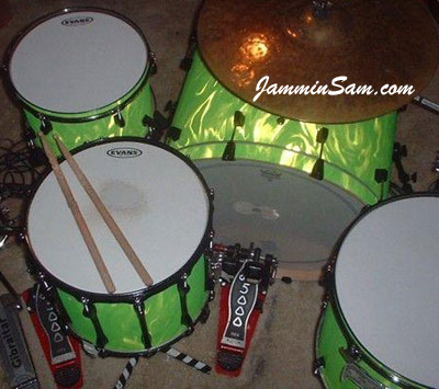 Photo of Dallas Spence's drums with Neon Lime Satin drum wrap (2)