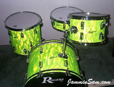 Photo of Dallas Spence's drums with Neon Lime Satin drum wrap