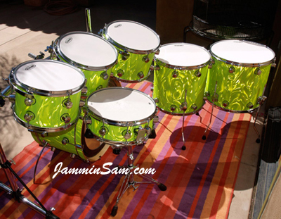 Photo of Marc Attanasi's Camco drums with Neon Lime Satin drum wrap (2)