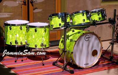 Photo of Marc Attanasi's Camco drums with Neon Lime Satin drum wrap