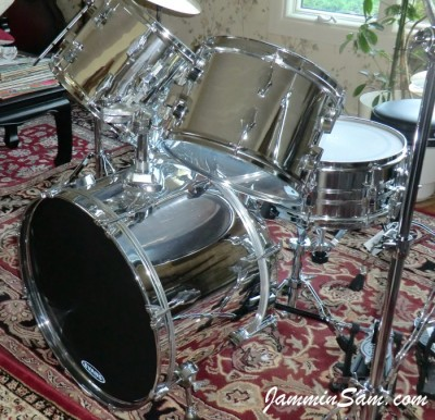 Photo of James V. Scott's Fibes drums with JS Mirror Chrome drum wrap (43)