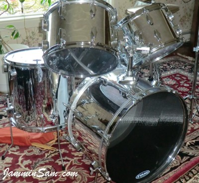 Photo of James V. Scott's Fibes drums with JS Mirror Chrome drum wrap (46)
