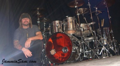 Photo of Sammy Taylor's drums with JS Mirror Chrome drum wrap (1)