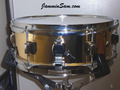 Photo of Paul Collinson's Premier snare with Mirror Gold drum wrap (3)