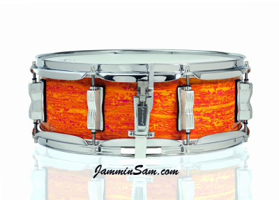 Photo of Anthony Scott's Ludwig snare drum with Psychedelic Mod Orange drum wrap (1)