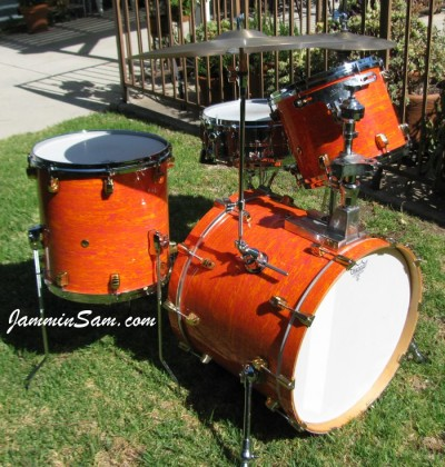 Photo of Chris Lammers' custom snare with Psychedelic Mod Orange drum wrap (19)