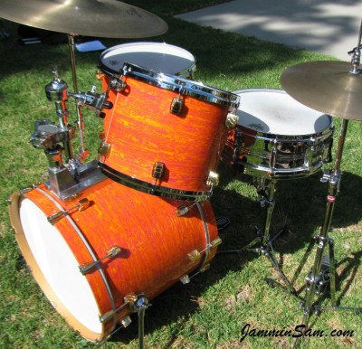 Photo of Chris Lammers' custom snare with Psychedelic Mod Orange drum wrap (21)