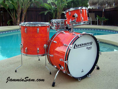 Photo of Jerry Jenkins' custom kit with Psychedelic Mod Orange drum wrap (1)