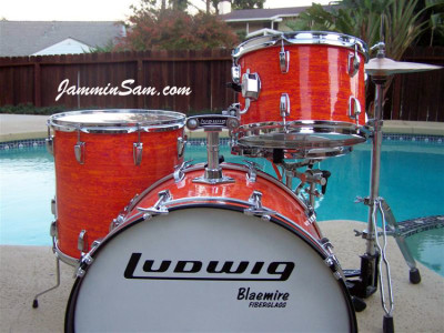 Photo of Jerry Jenkins' custom kit with Psychedelic Mod Orange drum wrap (6)