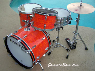 Photo of Jerry Jenkins' custom kit with Psychedelic Mod Orange drum wrap (7)
