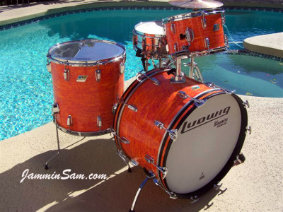 Photo of Jerry Jenkins' custom kit with Psychedelic Mod Orange drum wrap (8)