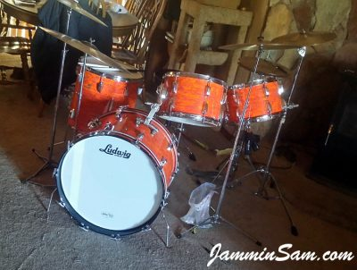 Photo of Jon Glenn's Ludwig drum set with Psychedelic Mod Orange drum wrap (37)