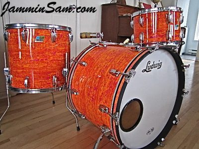 Photo of Michel Gagnon's Ludwig drum set with Psychedelic Mod Orange drum wrap (25)