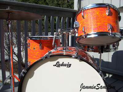 Photo of Rick Smith's Ludwig Classic with Psychedelic Mod Orange drum wrap (04)