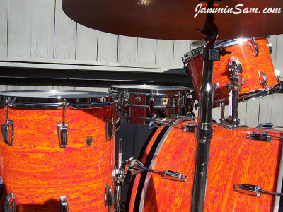 Photo of Rick Smith's Ludwig Classic with Psychedelic Mod Orange drum wrap (07)