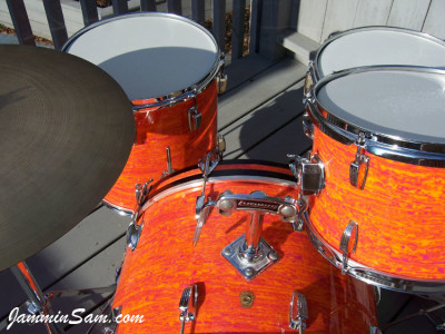 Photo of Rick Smith's Ludwig Classic with Psychedelic Mod Orange drum wrap (08)