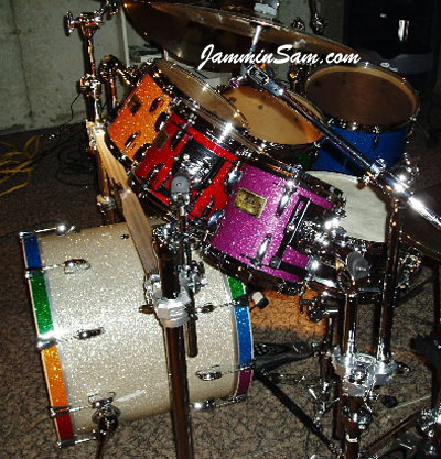 Photo of Bill Heitman's drums with Purple Glass Glitter drum wrap (12)