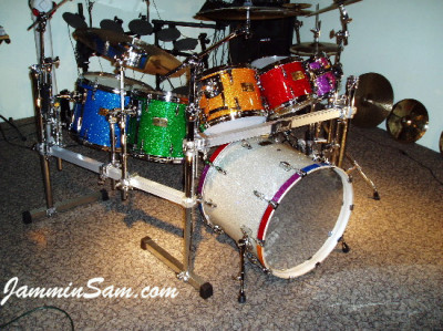 Photo of Bill Heitman's multicolor wrapped drums. (13)