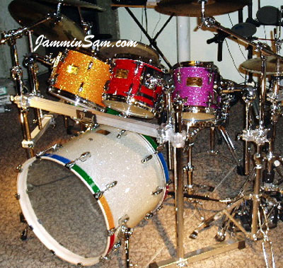 Photo of Bill Heitman's drumset with Purple Glass Glitter drum wrap (14)