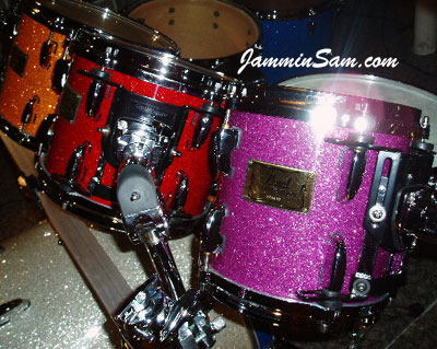 Photo of Bill Heitman's set of drums with Purple Glass Glitter drum wrap (3)