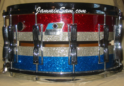 Photo of Jason Vanderpool's Ludwig snare with Multi-color Glass Glitter drum wrap (1)