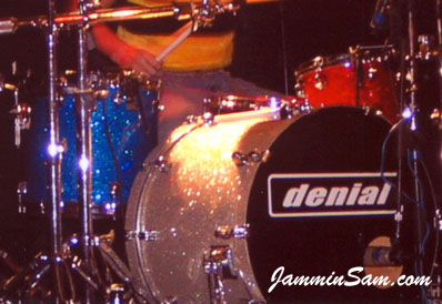 Photo of Terry Finkelmeier's Tama drums with multiple Glass Glitter colors of drum wrap