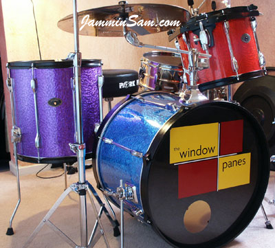 Photo of Matt Shelley's drums with Blue Metal drum wrap