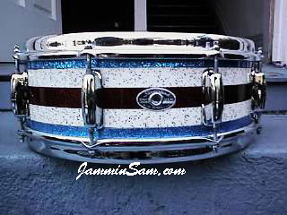 Photo of Jay Bronzini's Slingerland snare drum with Vintage Sparkle drum wrap