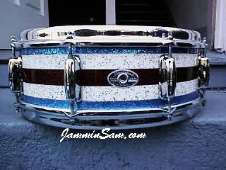 Photo of Jay Bronzini's Slingerland snare drum with Vintage Sparkle drum wrap