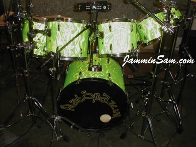 Photo of Jeff Gramblin's drums with Neon Lime Satin drum wrap