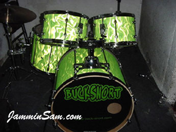 Photo of Phillip Doorman's Mapex drums with Neon Lime Satin drum wrap (7)