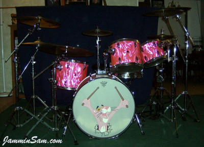 Photo of Bob Fleischer's Tama drums with Neon Pink Satin drum wrap (10) [with Pink Panther drum head]