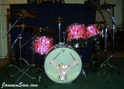 Photo of Bob Fleischer's Tama drums with Neon Pink Satin drum wrap (10) [with Pink Panther drum head]