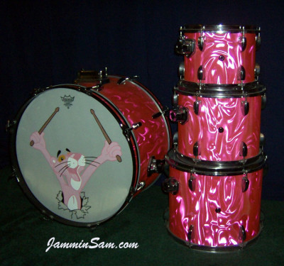 Photo of Bob Fleischer's Tama drums with Neon Pink Satin drum wrap (3) [with Pink Panther drum head]