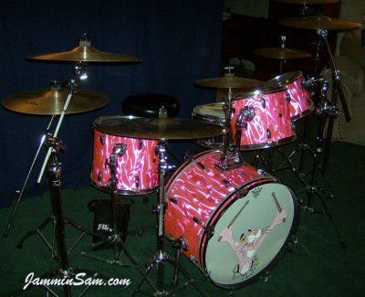 Photo of Bob Fleischer's Tama drums with Neon Pink Satin drum wrap (6) [with Pink Panther drum head]