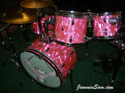 Photo of Bob Fleischer's Tama drums with Neon Pink Satin drum wrap (8) [with Pink Panther drum head]