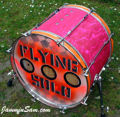 Photo of Brynley Rossiter's bass drum with Neon Pink Satin drum wrap (4)