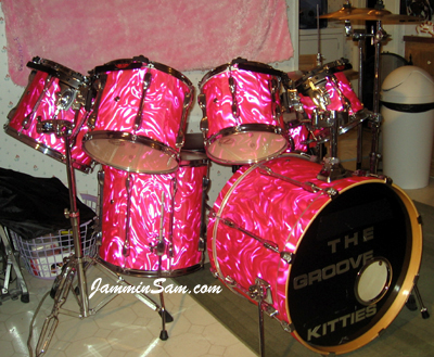 Photo of Garrison Bailey's Tama drums with Neon Pink Satin drum wrap (1)