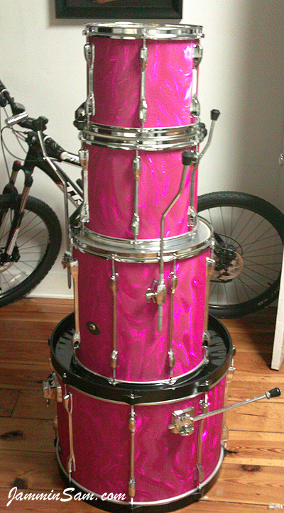 Photo of Mitch Trahan's Tama drums with Neon Pink Satin drum wrap (32)