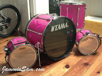 Photo of Mitch Trahan's Tama drums with Neon Pink Satin drum wrap (33)