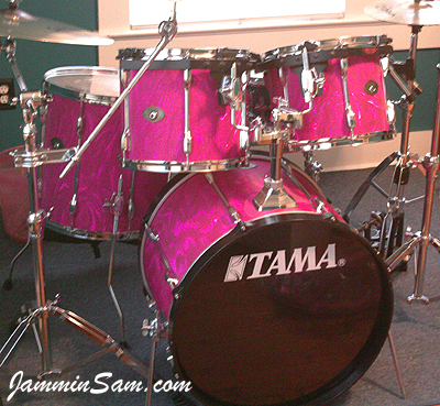 Photo of Mitch Trahan's Tama drums with Neon Pink Satin drum wrap (36)
