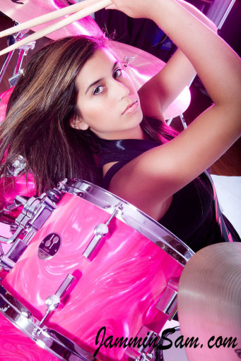 Photo of Olivia Adlakha's drums with Neon Pink Satin drum wrap (06)