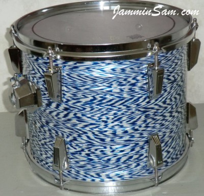 Photo of James V. Scott's Fibes tom with Blue-White Onyx Pearl drum wrap (16)