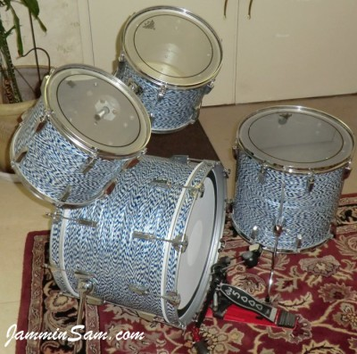 Photo of James V. Scott's Fibes drums with Blue-White Onyx Pearl drum wrap (43)