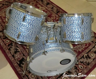 Photo of James V. Scott's Fibes drumset with Blue-White Onyx Pearl drum wrap (44)